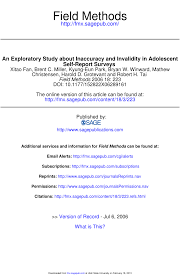 an exploratory study about inaccuracy and invalidity in adolescent