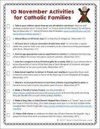 activities for catholic families in november free printable