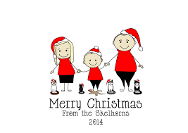 christmas family caricature personalised christmas cards