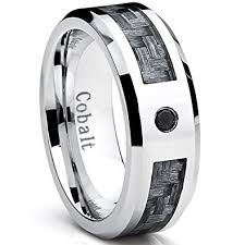 carbon fiber wedding band cobalt men s wedding band ring with gray carbon fiber inlay and