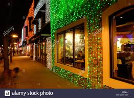 christmas lights on a starbucks coffee shop during the big bright