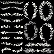 ornaments on a black background vector free