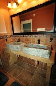 double natural stone trough sinks with unfinished wooden bathroom