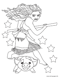 moana and pig ready coloring pages printable