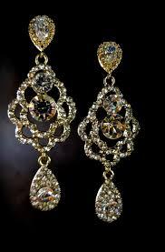 gold bridal earrings chandelier gold chandelier earrings bridal jewelry by queenmejewelryllc