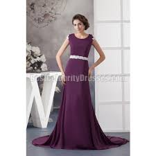 evening dresses for weddings sweep grape scoop appliques chiffon evening dress wedding