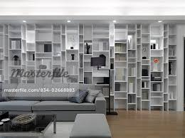 Bookcase Wall Modern Living Room With Wall Length Bookcase Stock Photo