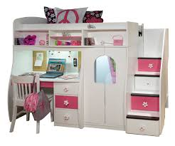 beautiful pink white wooden teen loft bed with mirrored closet for girls jpg