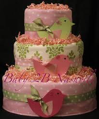 girls diaper cake in little birds pink and green baby shower