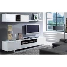 Meuble Tv Longueur Maison Et Mobilier D Intérieur Belus Meuble Tv Mural Contemporain Noir Et Blanc Brillant L 200