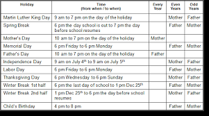ohio custody u0026 visitation schedules oh what to include