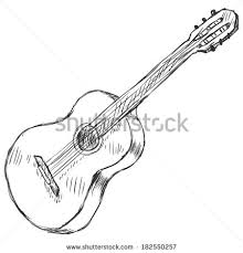 vector sketch acoustic guitar stock vector 182550257 shutterstock