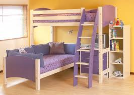 Cresta Scallywag L Shaped Bunk Bed Show In Lilac And White - Kids l shaped bunk beds