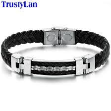 fashion stainless steel bracelet images Trustylan luxury fashion stainless steel leather bangle bracelet jpg