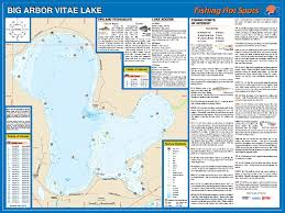 map of arbor and arbor vitae lakes vilas co fishing map