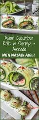these asian cucumber rolls with shrimp sesame avocado are served