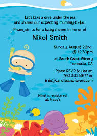 the sea baby shower invitations the sea baby boy snorkeling baby shower invitations