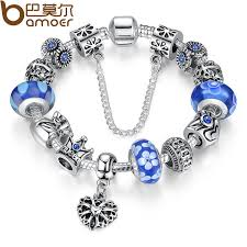 bamoer jewelry silver charms bracelet bangles with