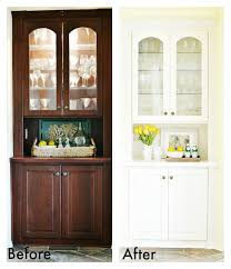 built in china cabinet makeover at the picket fence