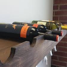 hand made floating shelf with a wine glass rack farmhouse shelf