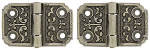 pair of small decorative cast iron cabinet hinges 1 1 4