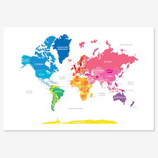 Alaska World Map by World Map In Bright Colours