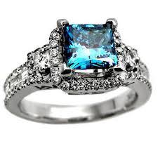 blue wedding rings engagement rings princess cut