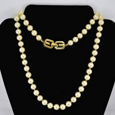 long fashion pearl necklace images Vintage givenchy faux pearl necklace 1977 champagne colored hand jpg