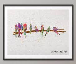 online shop birds on wire original watercolor canvas painting wall
