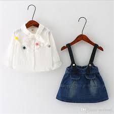 2017 simple design baby shirt and suspender jean dress 2017