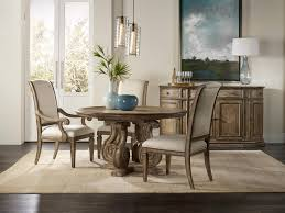 hooker dining room furniture round single pedestal dining table with scroll serpentine shaping