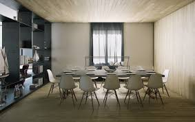 modern dining room with bench wood set unique double pendant lamps