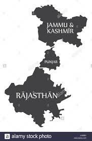 jammu and kashmir punjab rajasthan map illustration of indian