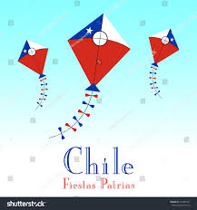 Cile Flag Illustration Chile Flag Kite Fiestas Patrias Stock Vektorgrafik