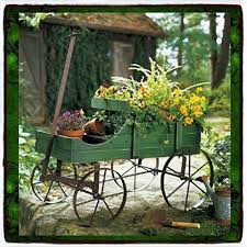 Metal Garden Flowers Outdoor Decor Plant Stands Patio Wagon Showcase Flowers Wood Pot Stand Cart