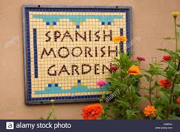 native plants albuquerque entrance sign at spanish moorish garden botanical gardens