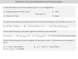 definition of linear momentum and conservation to derive the basic result of this chapter impulse