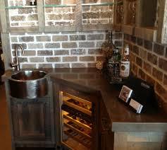 copper backsplash ideas home bar rustic with wine inspiring idea corner bar sink cabinet with faux brick backsplash