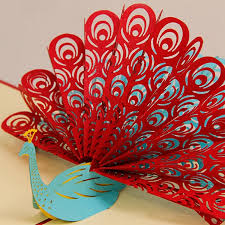 10pcs lot free shipping amazing cool 3d pop up peacock greeting