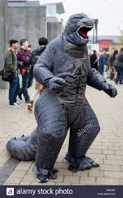 godzilla costume london uk 30 october 2016 a dresses in an