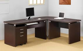 Grey Wooden Desk Other Design Admirable Design Ideas Using L Shaped Brown Wooden