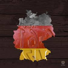 Germman Flag Map Of Germany Plus German Flag License Plate Art On Gray Wood