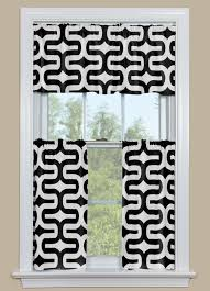 Black Curtains With Valance Geometric Style Kitchen Curtain In Black And White