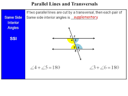 Same Side Interior Angles Definition Geometry Lesson 2 6 Parallel Lines Cut By A Transversal Ppt Video Online