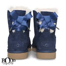 ugg bailey bow navy blue sale ugg dixi flora perf mini bailey bow navy sheepskin boots size us 7