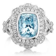 aquamarine engagement ring 3 75tw 18k white gold u0026 diamond