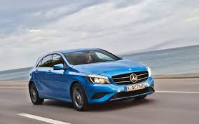 blue mercedes 2013 mercedes a class blue driving in line