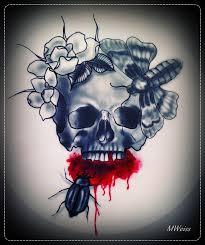 bleeding skull tattoo flash by mweiss art on deviantart
