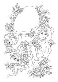 Easter Decorations Coloring Pages by Angels Are Carrying A Decorated Easter Egg Coloring Page Free