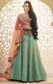 buy lehenga blouse designs for bridal reception wear with half